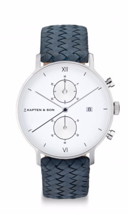 Montre Kapten & Son Chrono Silver Light Blue Woven Leather - PRECIOVS