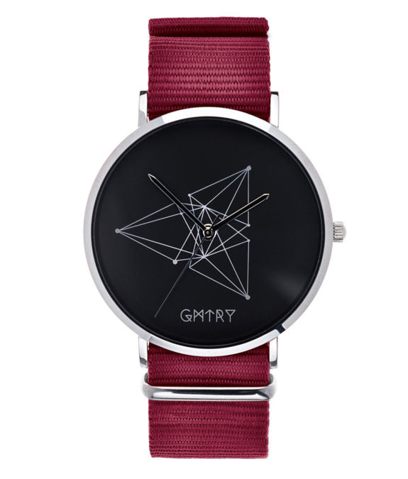 Montre GMTRY The Contour Series Dark Grey Bordeaux (+2ème bracelet au choix) - PRECIOVS