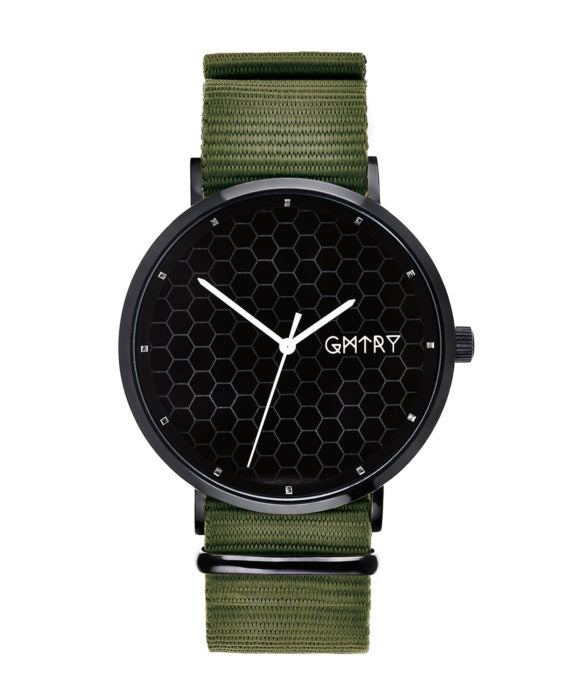 Montre GMTRY The Polygon Series Dark Grey Vert (+2ème bracelet au choix) - PRECIOVS