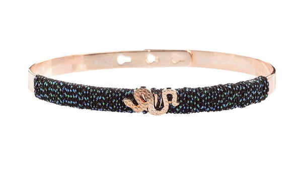 Bracelet Jonc MYA BAY Collection anniversaire Serpent, fil irisé noir JC-FI-06.P - PRECIOVS