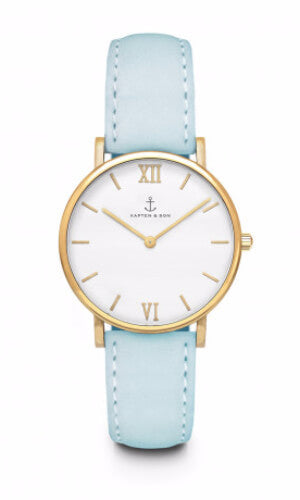 Montre Kapten & Son Joy Lagoon Blue Velvet Leather - PRECIOVS