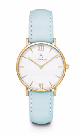 Montre Kapten & Son Joy Lagoon Blue Velvet Leather