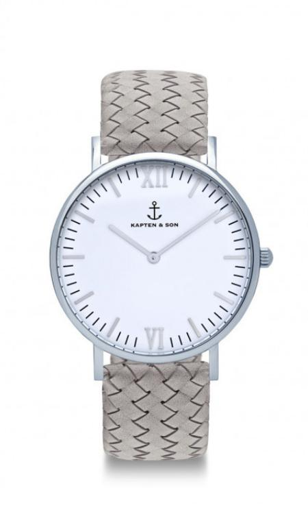 Montre Kapten & Son Silver Grey Woven Leather - PRECIOVS