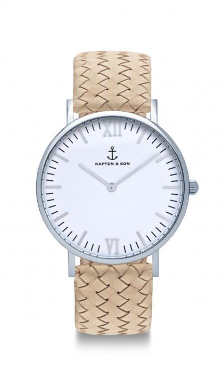 Montre Kapten & Son Silver Sand Woven Leather - PRECIOVS