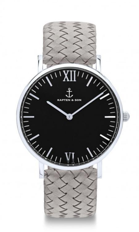 Montre Kapten & Son Black Silver Grey Woven Leather - PRECIOVS