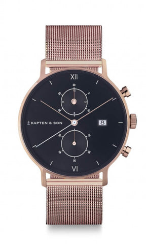 Montre Kapten & Son Chrono Black Mesh