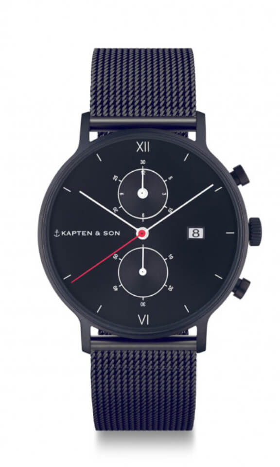 Montre Kapten & Son Chrono Black Midnight Mesh - PRECIOVS
