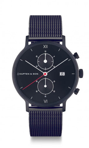 Montre Kapten & Son Chrono Black Midnight Mesh