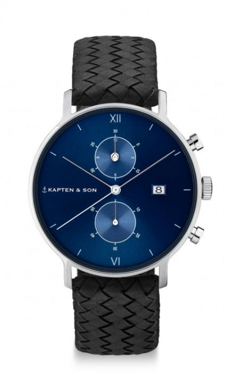 Montre Kapten & Son Chrono Silver Blue Black Woven Leather - PRECIOVS