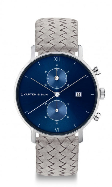 Montre Kapten & Son Chrono Silver Blue Grey Woven Leather - PRECIOVS