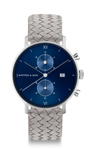 Montre Kapten & Son Chrono Silver Blue Grey Woven Leather