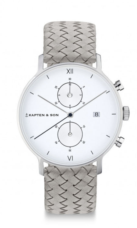 Montre Kapten & Son Chrono Silver Grey Woven Leather - PRECIOVS