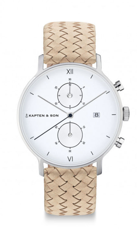 Montre Kapten & Son Chrono Silver Sand Woven Leather - PRECIOVS