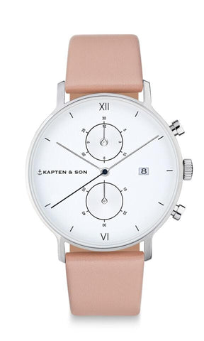 Montre Kapten & Son Chrono Silver Cherry Blossom Leather