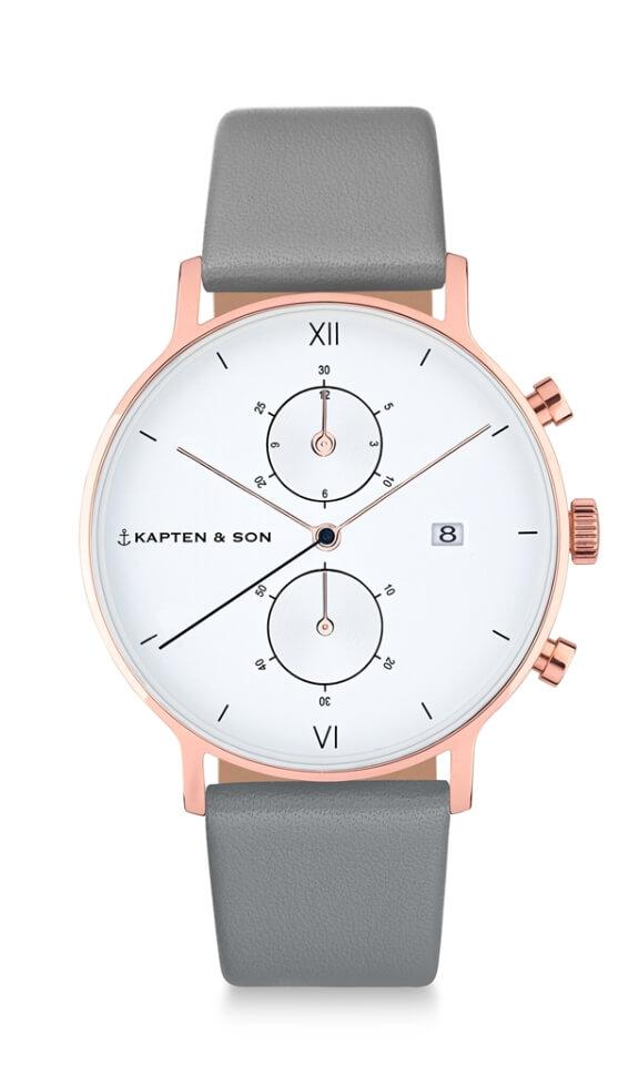 Montre Kapten & Son Chrono Ash Grey Leather - PRECIOVS