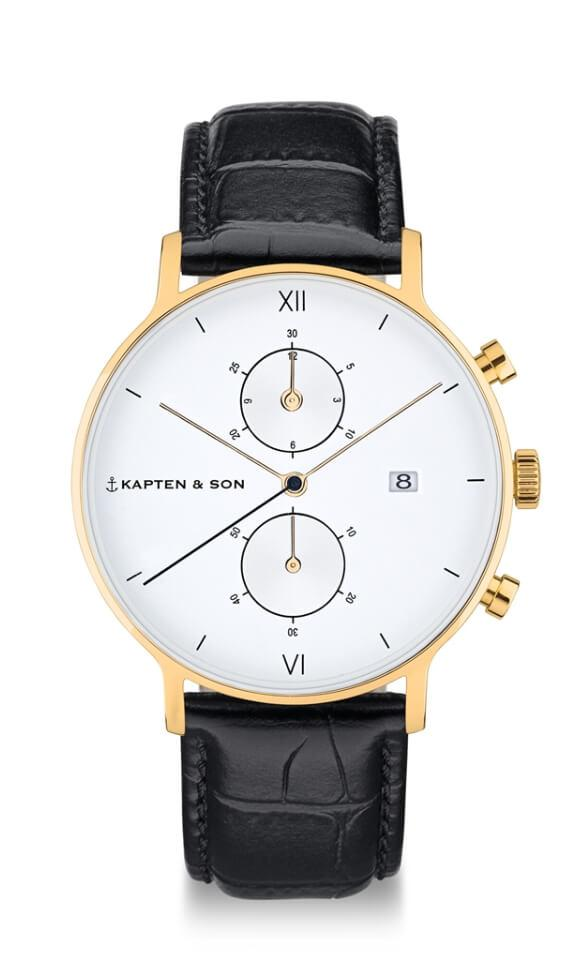 Montre Kapten & Son Chrono Gold Black Croco Leather - PRECIOVS