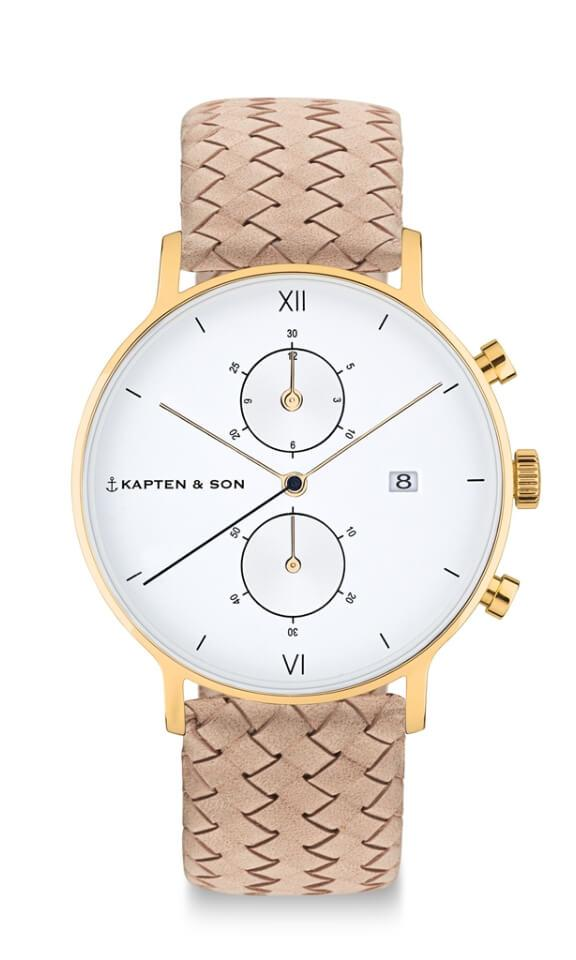 Montre Kapten & Son Chrono Gold Sand Woven Leather - PRECIOVS