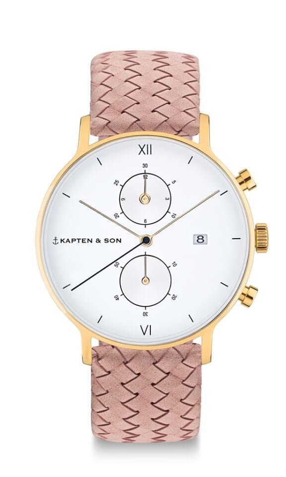 Montre Kapten & Son Chrono Gold Rose Woven Leather - PRECIOVS