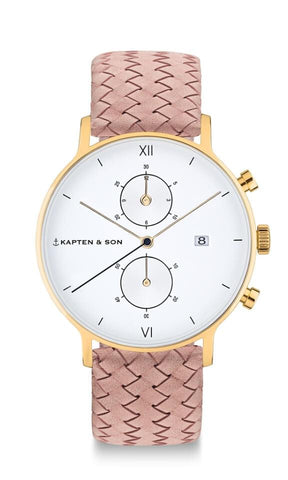 Montre Kapten & Son Chrono Gold Rose Woven Leather