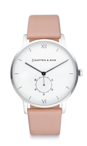 Montre Kapten & Son Heritage Silver Cherry Blossom Leather