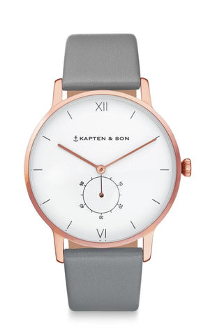 Montre Kapten & Son Heritage Ash Grey Leather