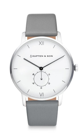 Montre Kapten & Son Heritage Silver Ash Grey Leather