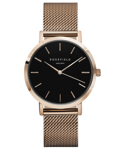 Montre Rosefield The MERCER Black Mesh Rose Gold MBR-M45 - PRECIOVS