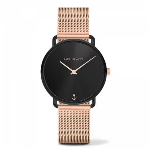 Montre Mermaid Line Black Sunray Bande Mesh Or Rosé