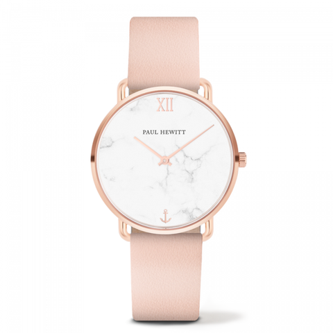 Montre Paul Hewitt Mermaid Line Marble Or Rosé Cuir Nude