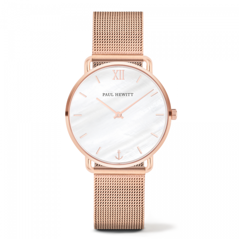 Montre Paul Hewitt Mermaid Line Pearl Or Rosé Bande Mesh Or Rosé
