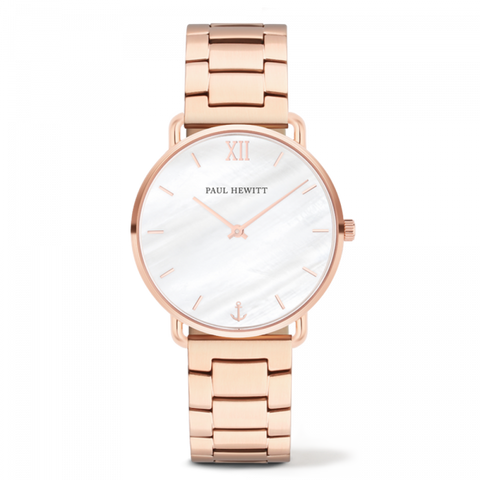 Montre Paul Hewitt Mermaid Line Pearl Or Rosé Bande Métallique Or Rosé