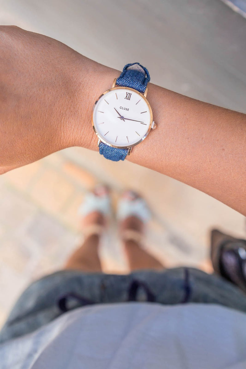 Montre CLUSE Minuit Rose Gold White/Blue Denim CL30029 - PRECIOVS