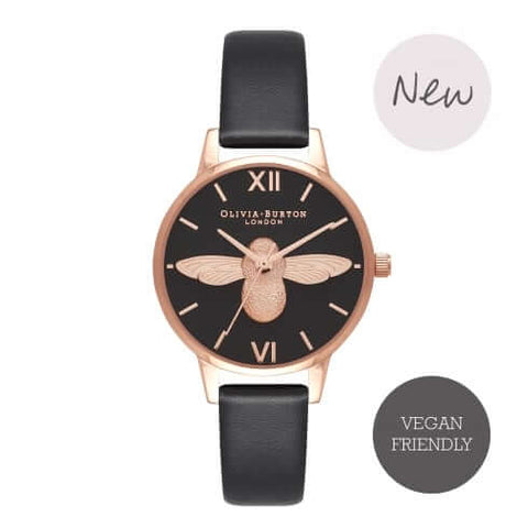 Montre Olivia Burton 3D Bee Vegan Friendly Black & Rose Gold OB16VE10 - PRECIOVS
