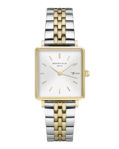 Montre Rosefield THE BOXY Duotone Blanc Sunray Or Jaune Argent QSVGD-Q013