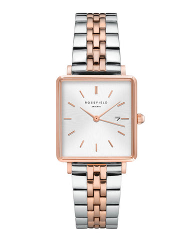 Montre Rosefield THE BOXY Duotone Blanc Sunray Or Rose Argent QSVRD-Q014