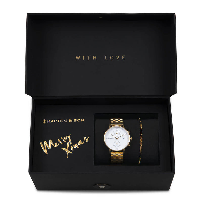 Coffret Cadeau Kapten & Son Soulmate Small Gold avec montre Chrono Small Gold - PRECIOVS