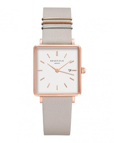 Montre Rosefield THE BOXY Blanc Gris Or rose