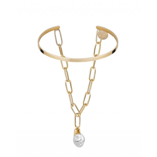 Bracelet Jonc Rosefield The Jane Liquid Pearl and Initial Bar J181 - PRECIOVS