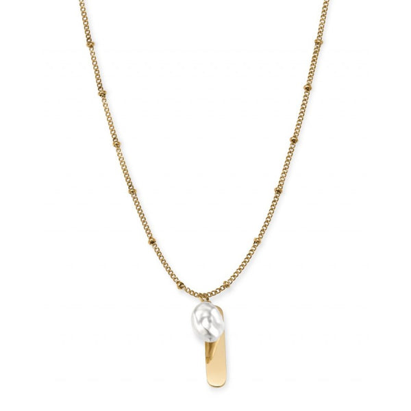 Collier Rosefield The Jane Liquid Pearl and initial bar J178 - PRECIOVS