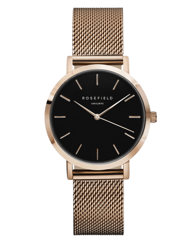 Montre Rosefield The TRIBECA Black Mesh Rose Gold TBR-T59 - PRECIOVS