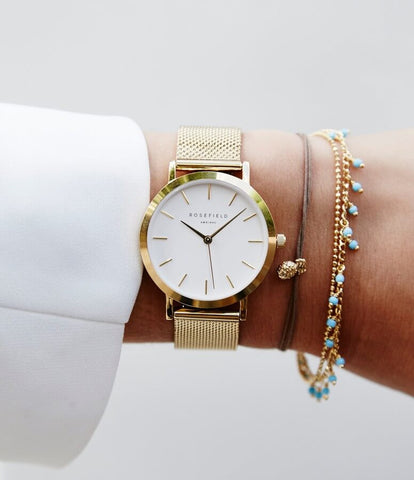 Montre Rosefield The Tribeca White Mesh Gold Twg T51
