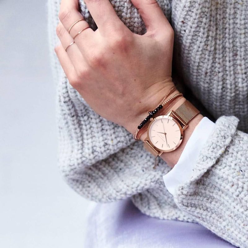 Montre Rosefield The TRIBECA White Mesh Rose Gold TWR-T50 - PRECIOVS