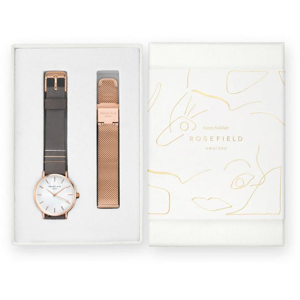 Coffret Rosefield West Village Elephant Grey + bracelet Mesh Rose Gold X184 - PRECIOVS