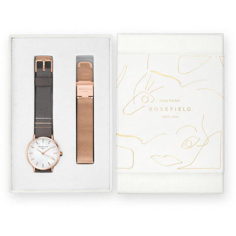 Coffret Rosefield West Village Elephant Grey + bracelet Mesh Rose Gold X184