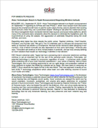Press Release - 2016-09-12 - Asius Technologies Reacts to Apple Announcement Regarding Wireless Earbuds