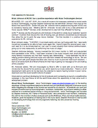 Asius Technologies Press Release - Brian Johnson of AC/DC has a Positive Experience with Asius Technologies Devices