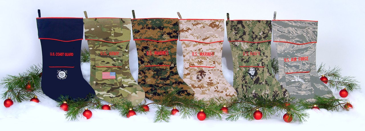 Canosock Militay theme Christmas stocking for the Army, Navy, Marine Corps, Air Force and Coast Guard