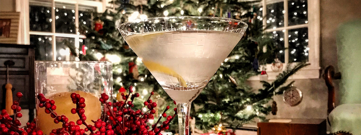 Crystal Matrix martini glass in front of a beautiful Christmas tree with a twist.
