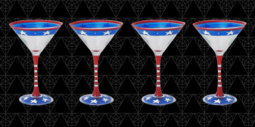 The Patriot martini glass at Tini Grails - red, white and blue and symbolic of the American Flag.