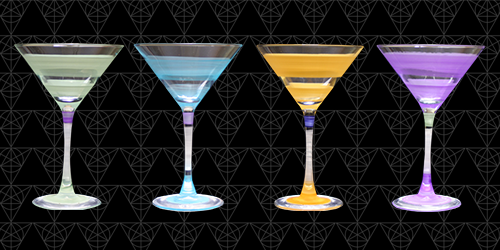 The Whirls Collection of martini glasses from Tini Grails in green, blue, yellow and purple stripes.